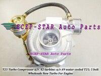 Envío Gratis Turbo turbocompresor entrada brida T25 compresor a/r. 42 turbina a/r.49 brida de salida con 5 pernos agua c Turbo cargador