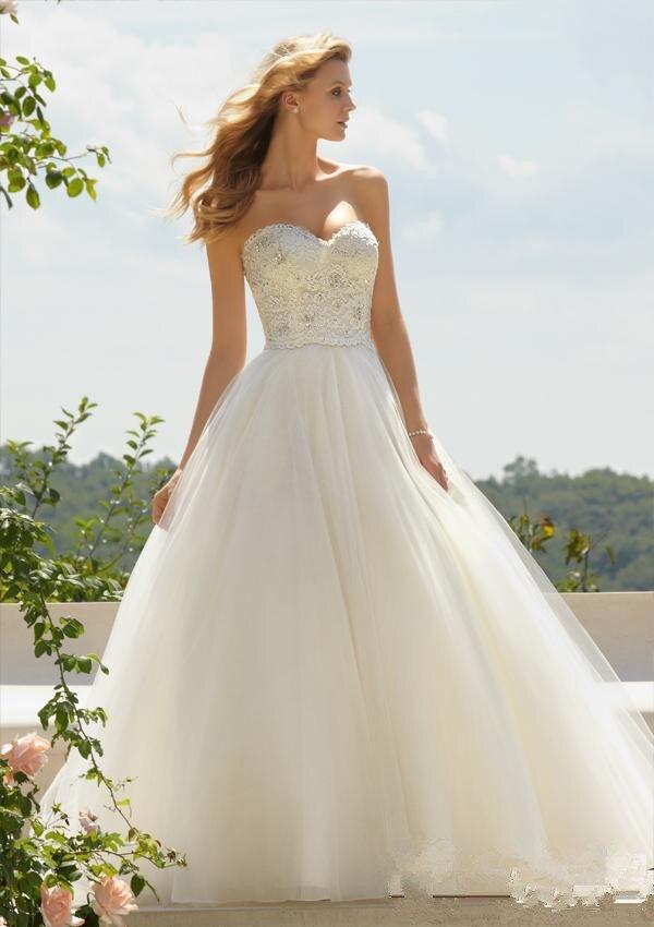 Sexy Sweetheart A Line Vestido De Noiva Cheap Price 2016 New Design Wedding Gowns Lace Beading White Ivory Wedding Dresses DJ668