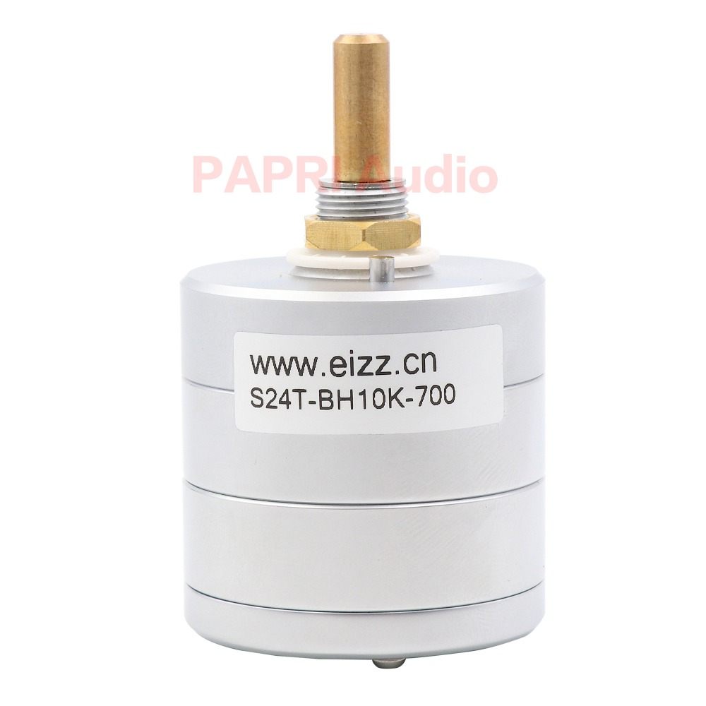 1PCS EIZZ Premium 24-Step Stereo Attenuator Volume Potentiometer 10K S24T-BH10K-700 For Audio HIFI DIY Vintage Tube Amplifier free shipping new 1pc 2 pole 23 step rotary switch attenuator volume control pot potentiometer diy