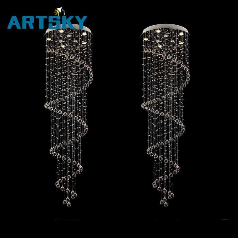 Топ продаж современный блеск k9 Люстра винтовая лестница свет хрустальная лампа Dia60cm * H250cm