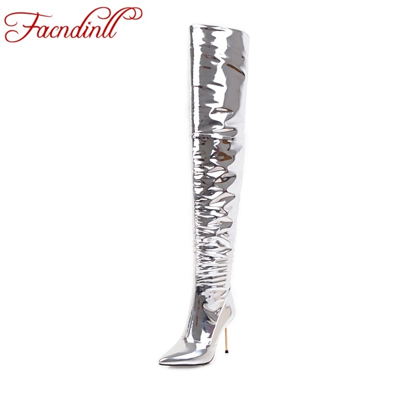FACNDINLL Plus size 43 fashion women boots patent leather over the knee boots for women silver sexy high heels long dancing boot free shipping sm sexy patent leather queen pole dancing shoes women thigh high boots zapatos mujer boot customize big size 12cm