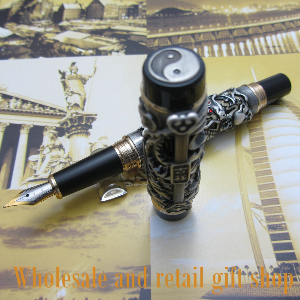 Jinhao Dragon Phoenix Heavy gray Chinese Classical Luck Clip Fountain Pen цена