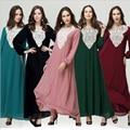 New Arab Womens Long Sleeve Dress O-Neck Ankle-Length Long Sleeve Kaftan Abaya Elegant Maxi Fashion Colorful Summer Casual Dress