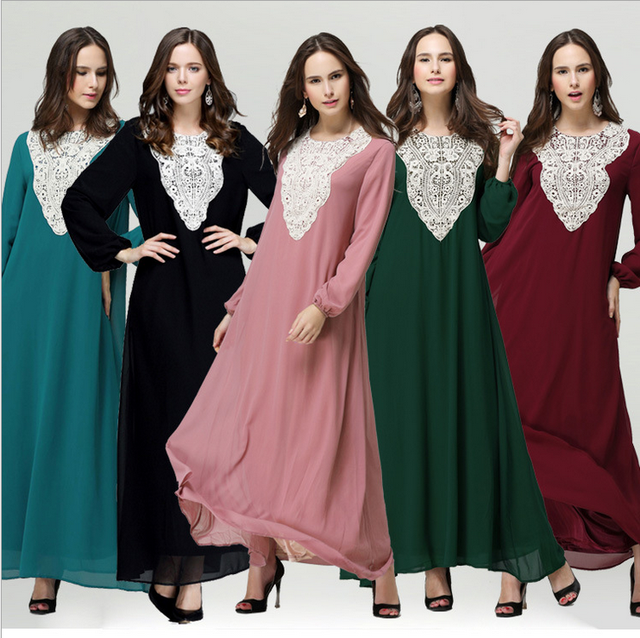 63e585030 Nuevo árabe mujeres Vestido de manga larga o-cuello tobillo-longitud manga  larga kaftan