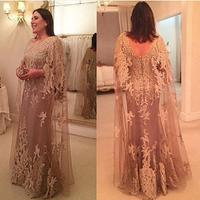 Fabulous Appliue Champagne With Cape Mother Dress For Wedding Long Women Wedding Formal Maxi Gowns Mother of This Brides Dresses