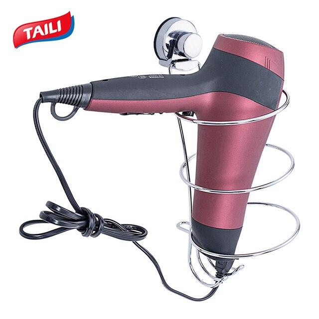 Soporte para secador de pelo cromado, sin perforación, gancho de succión fuerte