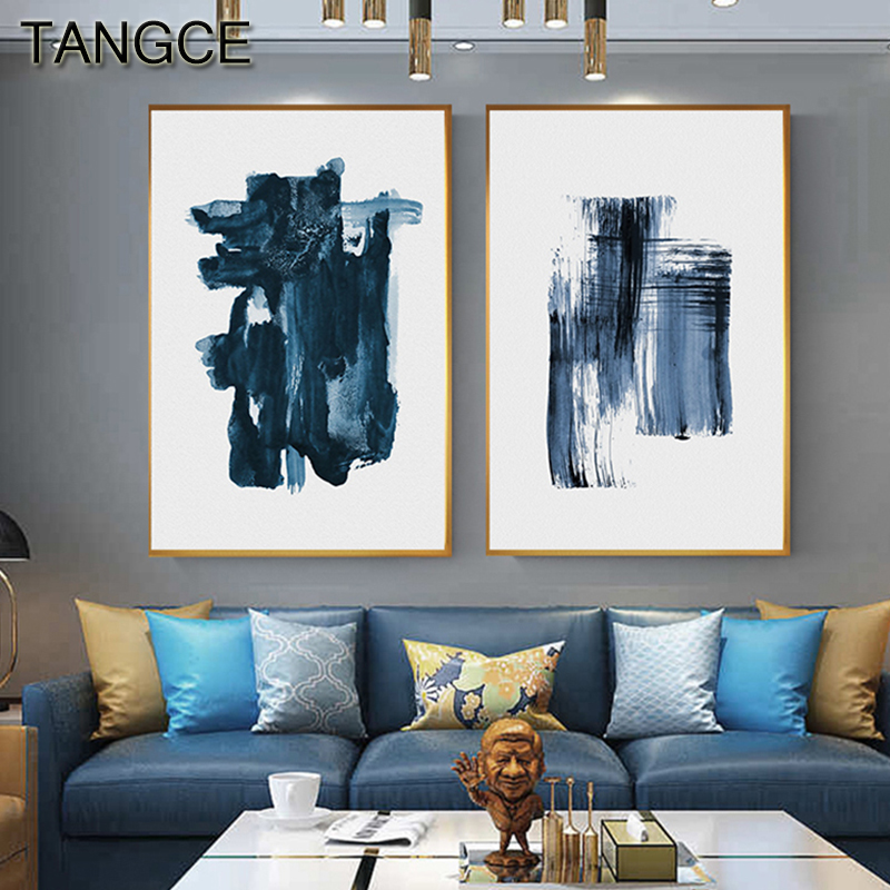 Modern Blue Watercolor Canvas Painting Print Poster Navy Blue Home Decor Nordic Wall Art Picture For Living Room Aisle Abstract
