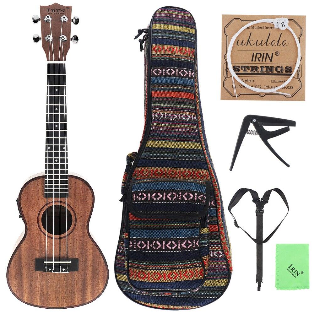 24 pouces ukulélé Abalone coquille Edge 18 frette quatre cordes Hawaii guitare intégré EQ pick-up + sac + Capo + sangle + tissu + ficelle