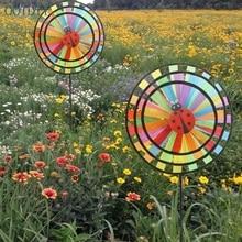 Colorful Rainbow Triple Wheel Wind Spinner Windmill Garden Yard Outdoor Decor #330