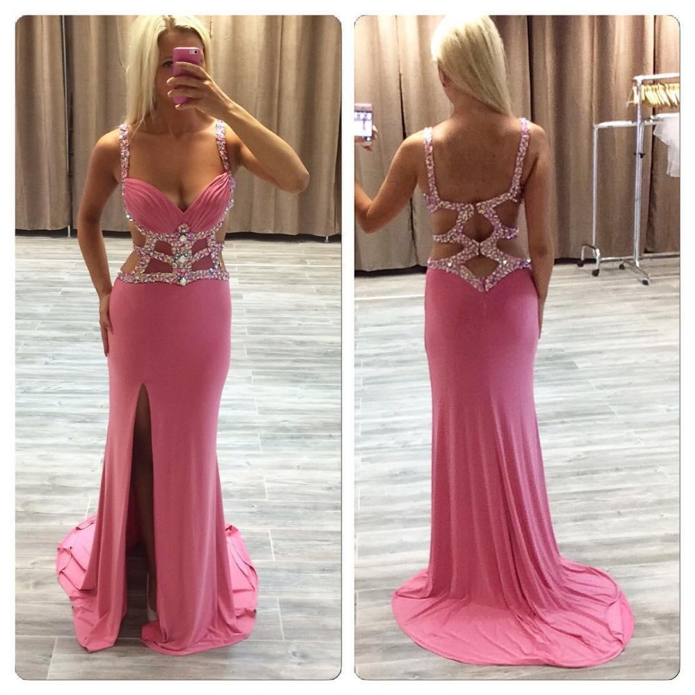 Mermaid Sweetheart Spagheeti Strap Silver Beaded Crystals Hot Pink Chiffon High Split Formal Party Gowns Evening Prom Dresses