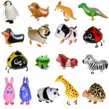 2017 New Walking Animal Balloons Cute Cat Dog Rabbit Panda Dinosaur Tiger Balloons Pet Balls Party Happy Birthday Decoration(China)