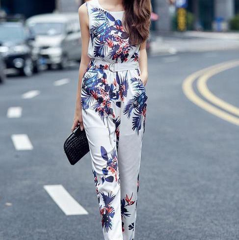 Новый 2016 комбинезон женщины долго Комбинезон Моды случайные ретро печати Комбинезон брюки
