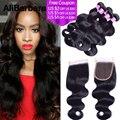 8A 3 bundles Malaysian Virgin Hair body wave with 1pc Lace Closure malaysian Hair Weaves  body wave Lace Closure alibarbara hair