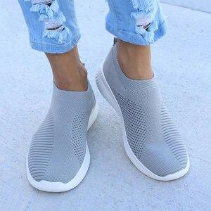 Image 2 - Zapatos informales para mujer Zapatillas de deporte planas con malla de aire, sin cordones, vulcanizados, 2019