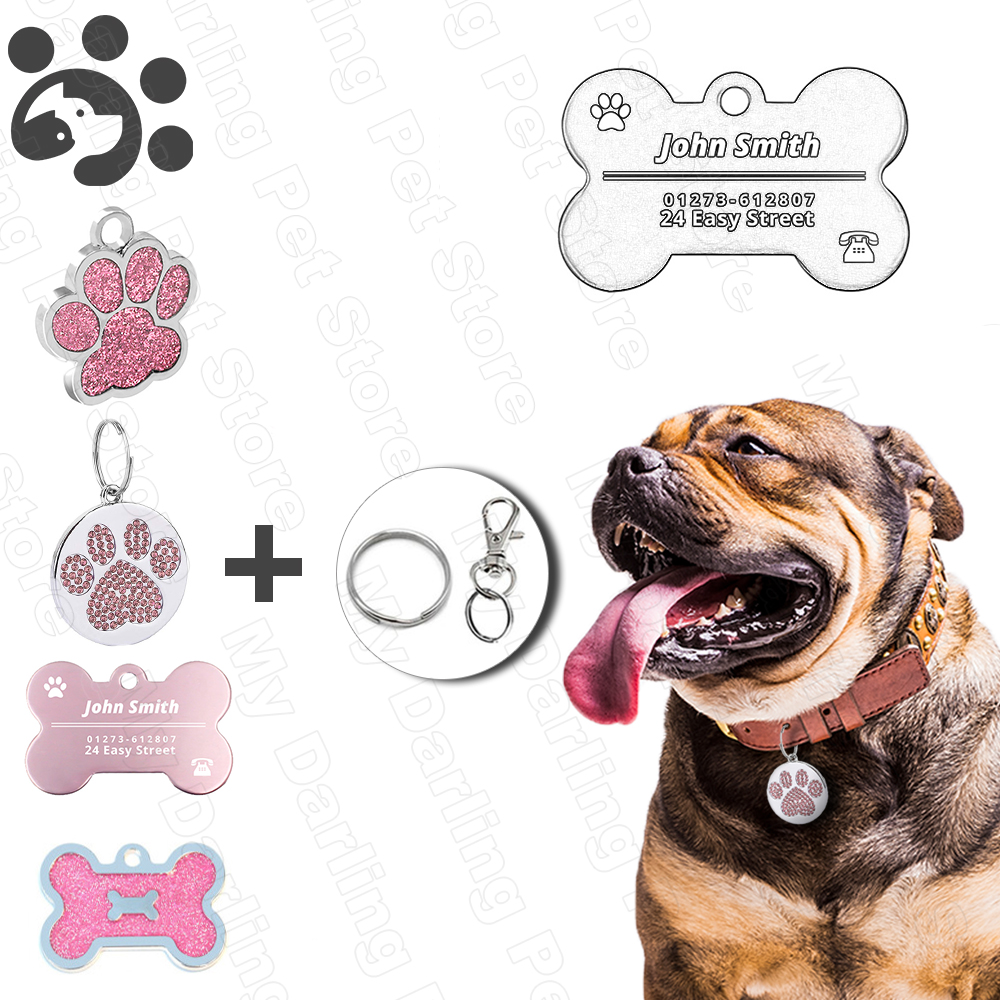 Personalized Dog ID Tags Engraved Metal Tag For Small Dogs Name Collar For Cat Puppy Pet Accessories Customized Name Tags MP0078