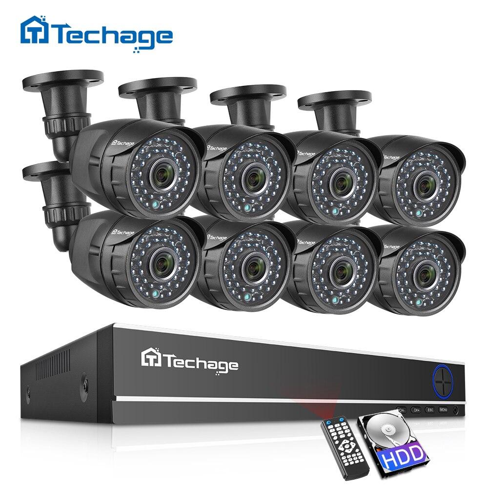 2.0MP 8CH 1080P AHD DVR Kit CCTV Sistema de Segurança Visão Nocturna do IR Ao Ar Livre Câmera À Prova D' Água P2P Conjunto De Vigilância Por Vídeo 2TB HDD