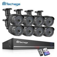 Techage 8CH 1080P Cctv Systeem Ahd Dvr Kit 2MP Ir Outdoor Waterdichte Camera Home Security P2P Video Surveillance Set 2 Tb Hdd