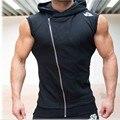 New 2016 Autumn Bodybuilding Oblique zipper Hoodies Vest Men's Fitness Movement Sleeveless Vest