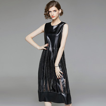 PU sleeveless a line long dress 2018 new o-neck lace patchwork women autumn dress lace insert sleeveless a line dress