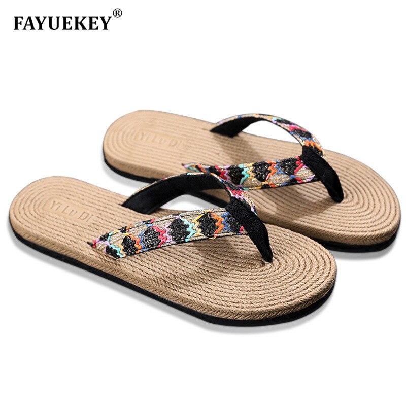 FAYUEKEY 2019 Summer Flax Home Slippers Women Beach Casual Non-slip Fashion Coquette Sandals Flip Flops