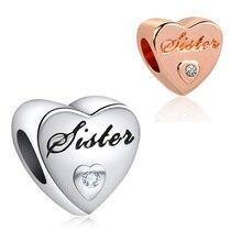 Новинка,,, цветной шарик из розового золота, семейная любовь, сердце, талисман сестры, Fit Pandora, браслет, DIY, Женские Ювелирные изделия