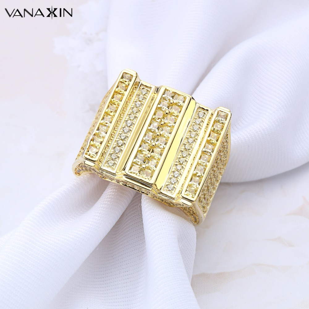 VANAXIN 925 Sterling Silver Cubic Zirconia Rhinestones Rings Gold/Silver Color Hiphop Party Rings Men Micro Pave CZ Gift Jewelry