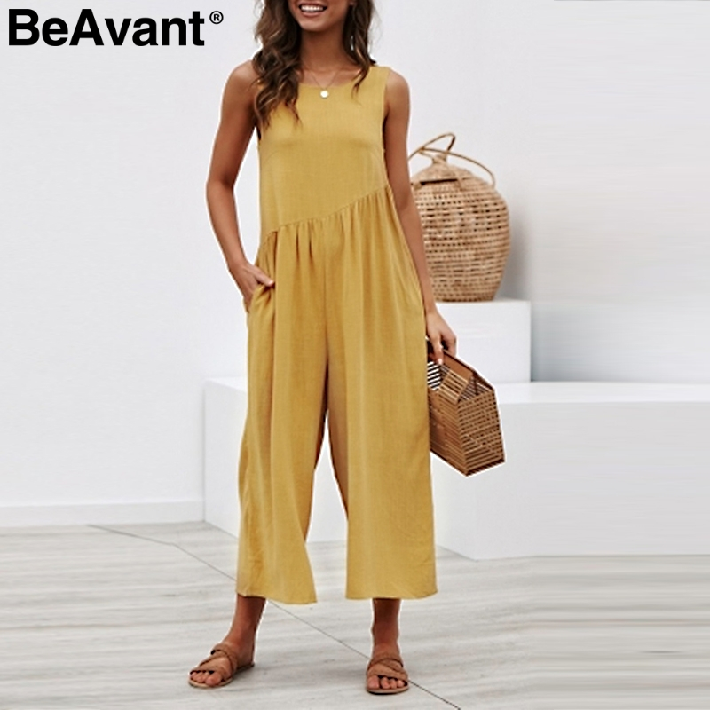 BeAvant 2019 Summer wide leg female jumpsuit Women backless casual   rompers   plus size Casual sleeveless loose ladies overalls