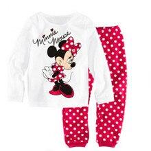 Children Clothes Fashion Sweet Minnie Mickey Mouse Dot Kids Girls Love Nightwear Pajamas Sleepwear Suit