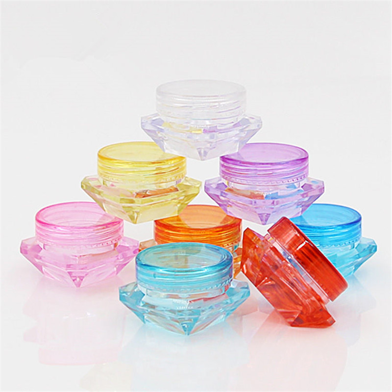 10Pcs/Lot Refillable Bottle Cosmetic Container Makeup Cream Nail Art Lip Balm Containers For Storage Travel Portable Plastic Jar