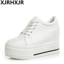 Height Increasing 9cm Canvas Shoes Woman Hidden Heel Platform White Black Casual For Women Trainers