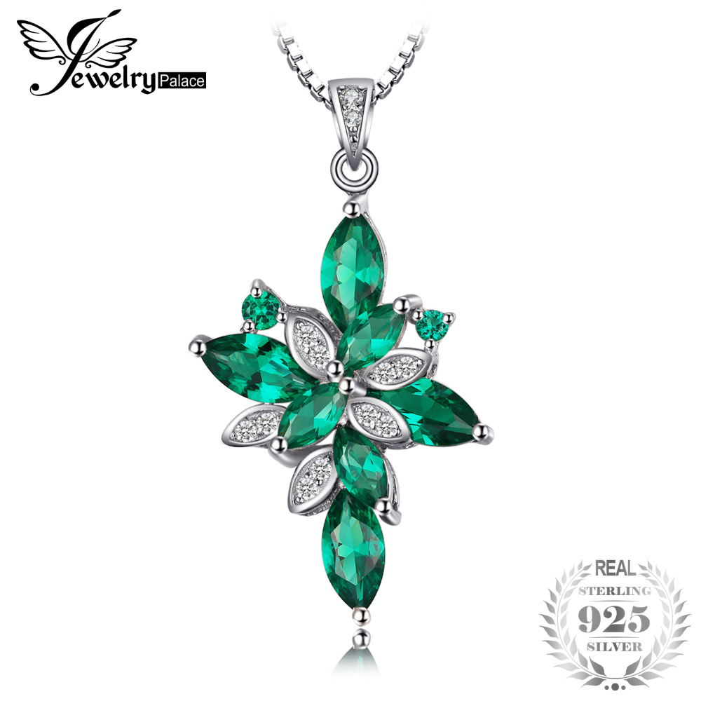 JewelryPalace Flower Shape 2.6ct Green Created Emerald 925 Sterling Silver Pendant Necklace 45cm for Women Fashion Jewelry 2018 stylish rhinestoned flower spiral shape pendant necklace for women