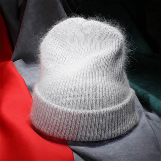 Mulheres Outono Inverno Quente Skullies Gorros De Malha Dupla Camada Grossa de Lã de Pele de Coelho Chapéu Feminino