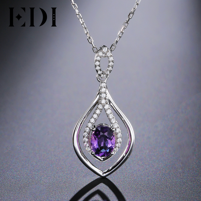 Edi oval 2ct natural purple amethyst pendant solid 925 sterling edi oval 2ct natural purple amethyst pendant solid 925 sterling silver chain necklace birthstone fine jewelry aloadofball Gallery