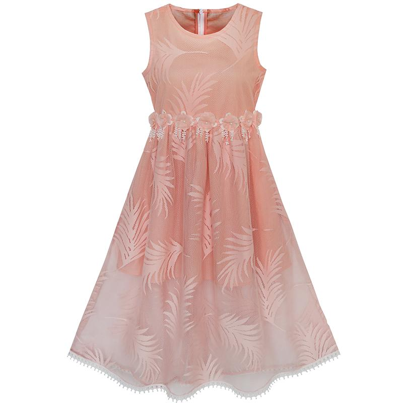 Flower Girl Dress Lace Leaf Elegant Princess Party Wedding Summer Gowns Kids Clothes Size New Brand Girls