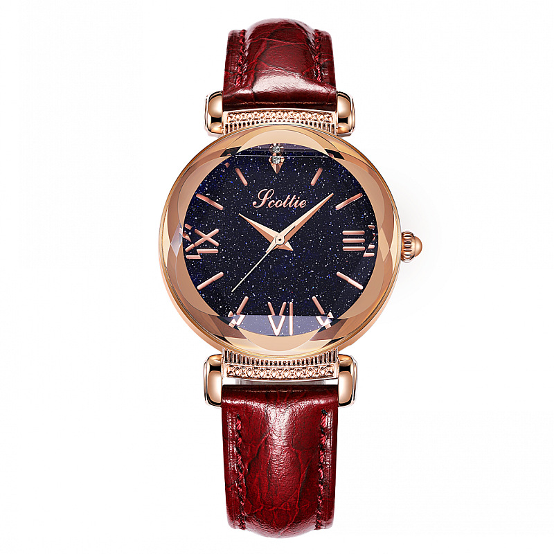 Top Brand Starry Dial Women Watch Lady Rhinestone Casual Quartz Watches Women Luxury Leather Strap Wrist Watch Clock Women reloj duoya fashion luxury women gold watches casual bracelet wristwatch fabric rhinestone strap quartz ladies wrist watch clock