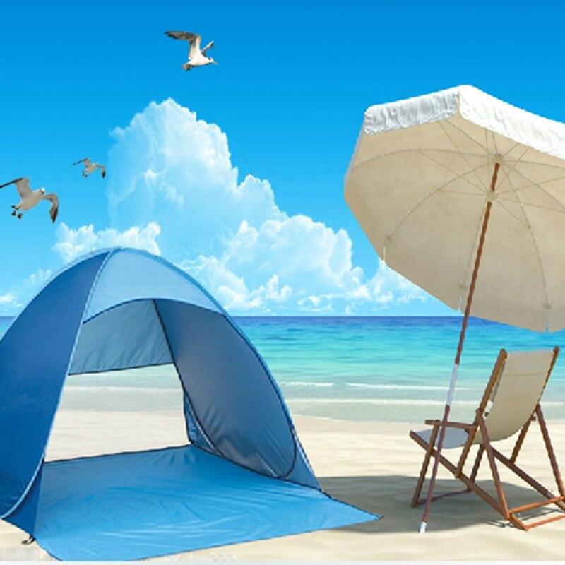 3 Personne Auvents Anti UV Semi ouvert Demi ouvert Plage Parasol Tente En Plein Air Pas Cher Camping Étanche anti Pluie Abri du soleil dans Abri du soleil de Sports et loisirs