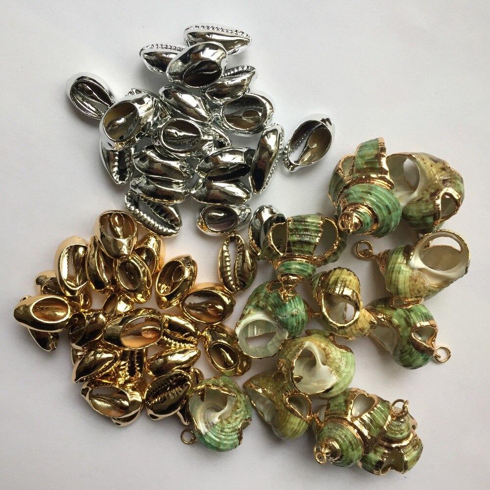 Natuurlijke Shell Goud Zilver Spiraal Shell Conch Voor Diy Handgemaakte Hanger Schelpen Woondecoratie Boho Strand Sieraden Vrouwen Bijoux Duurzame Modellering