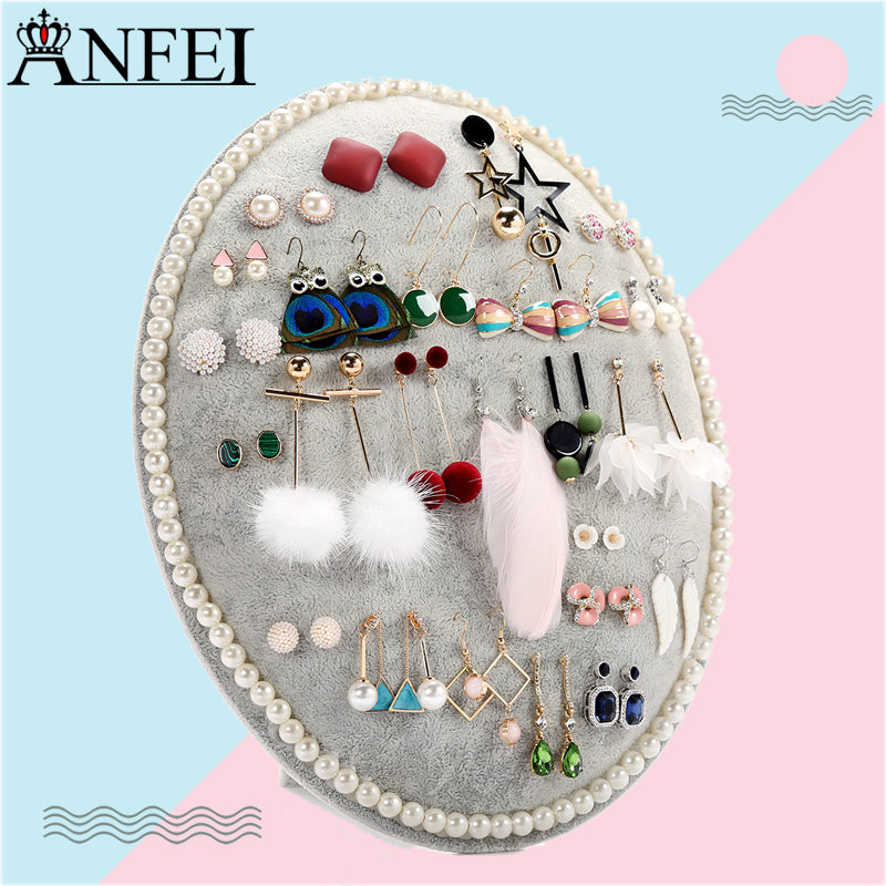 Anfei Velvet Earring Stand Board Jewelry Display Shelf Earring Display Storage Organizer For decorations Jewelry Stand A284 european household jewelry storage display stand