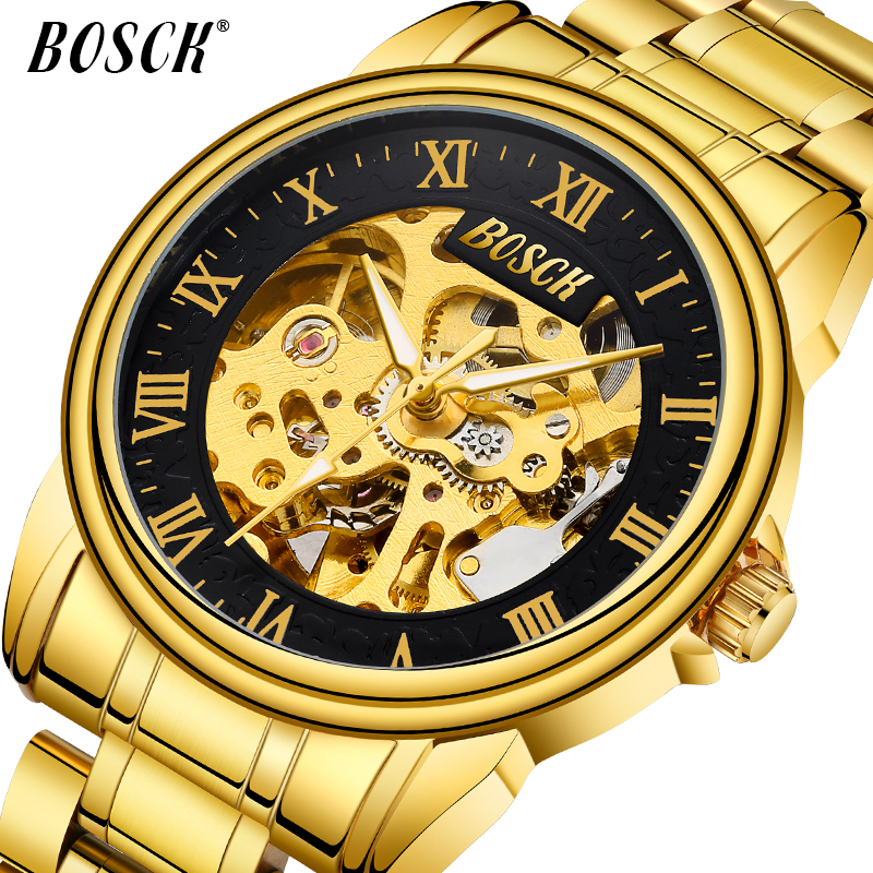 BOSCK Gouden stalen riem uitgeholde machine waterdicht automatisch - Herenhorloges