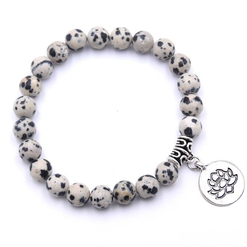 Natural Stone Lotus Buddha Beads Bracelet Matte Amazonite Mala Beads bracelets bangles For Women Men Yoga bracelet femme homme 18