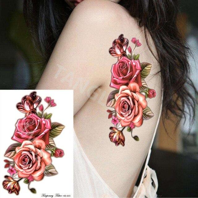 1 Piece Indien Arabe Faux Temporaire Tatouages Autocollants 3d Rose
