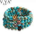 Natural Blue Stone Bead Bracelets for Men Women Jewelry 19cm Adjustable Size Elastic Cord Imperial Crown Charm Bracelet PB60