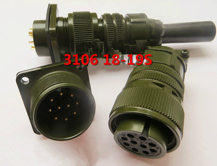 Original new 100% Aviation plug MS3106A-18-19S 10 core straight head army standard waterproof connector MS3102A18-19P original new 100% ms3106a 16s 8s 5 core straight 5015 u s standard motor aviation plug army standard waterproof connector