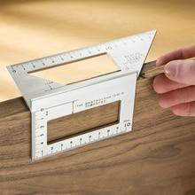 Алюминиевый сплав 45 градусов 90 градусов деревообрабатывающий Многофункциональный квадратный Измеритель угла транспортир над линейкой