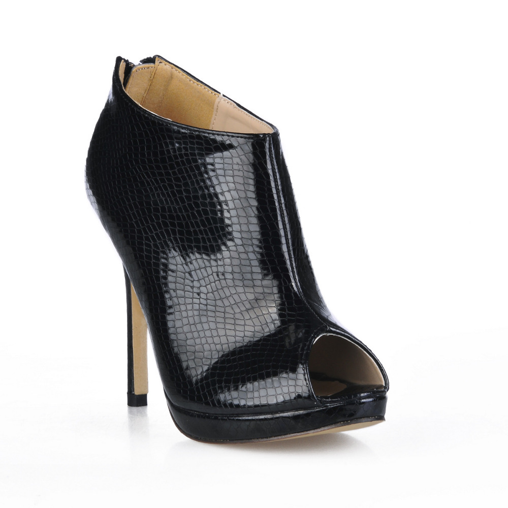 ФОТО Black Ankle Boots For Women 2017 New Hot Cheap Ladies Party Shoes High heels Peep Toe Botines Mujer Fashion Shoes Bottes Femmes