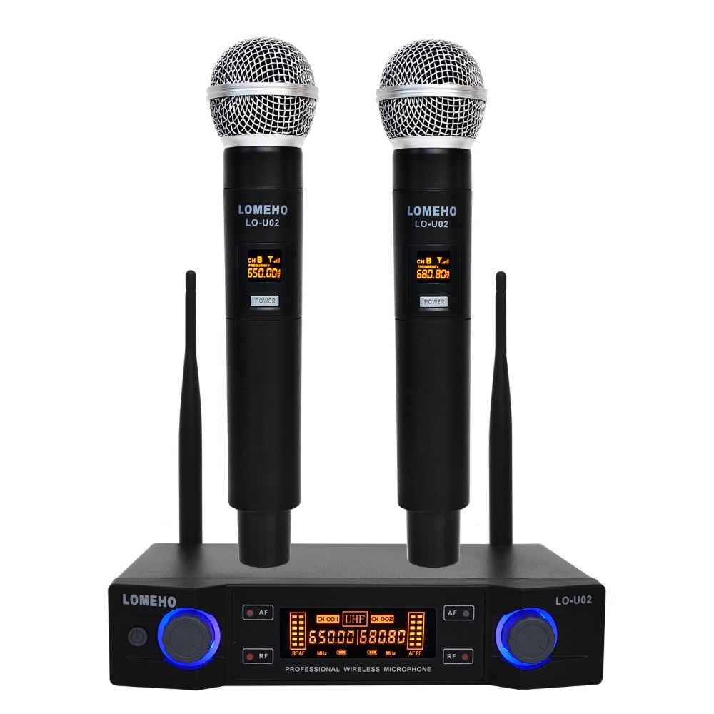 LO-U02 UHF Long Range Dual Channel 2 Handheld Mic Transmitter Professional Karaoke UHF Wireless Microphone System
