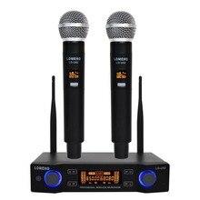 LO-U02 длинный диапазон, УВЧ двухканальный 2 ручной микрофонный передатчик профессиональная караоке UHF Беспроводная микрофонная система