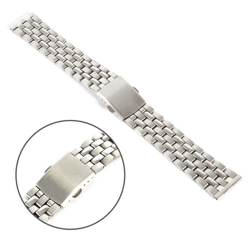 18 20 22mm Fem perler urbånd klassisk rustfrit stål foldespænde armbåndsur armbånd armbånd