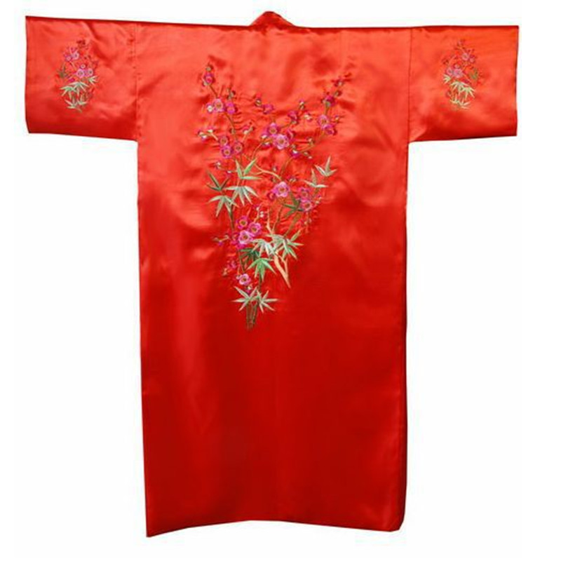 Hot Sale Black Chinese Men s Satin Robe Embroidery Flower Kimono Bath Gown  Spring Autumn Nightwear Size S M L XL XXL XXXL-in Robes from Underwear ... d038fa42f