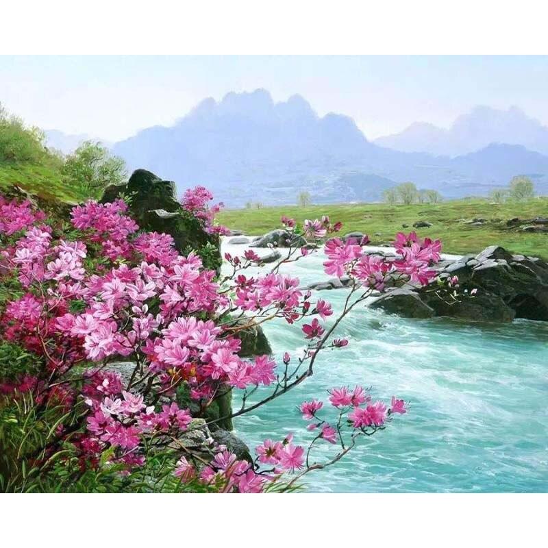 Malerei Durch Zahlen DIY Dropshipping 50x65 60x75cm Rosa blume baum creek Landschaft Leinwand Hochzeit Dekoration kunst bild Geschenk
